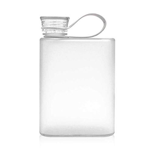 XuHang 400ml deportes al aire libre taza de agua creativo estudiante cuadrado plástico transparente botella de viaje plana