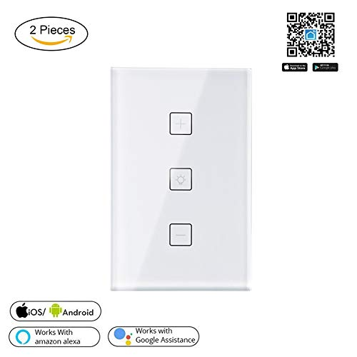 QLPP Smart Dimmer Switch, WiFi Light Dimmer Switch Compatible con Alexa y Google Assistant, Unipolar, Control de Voz, Soporte de Control multiusuario,2pack,USA