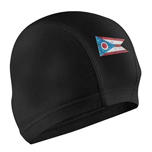 MKLQ Gorra de baño Vintage Ohio Vintage Flag Adult Waterproof No-Slip Short and Length Hair Swimming Cap for Woman and Men Black