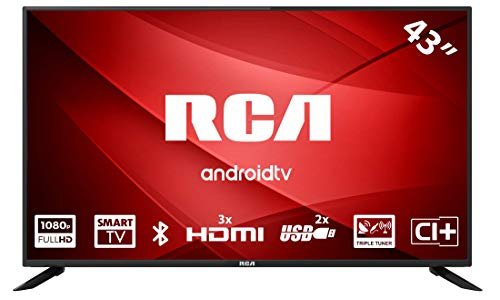 RCA RS43F2 Android TV (43 inch Full HD Smart TV met Google Assistant), ingebouwde Chromecast, HDMI + USB, Triple Tuner, 60Hz