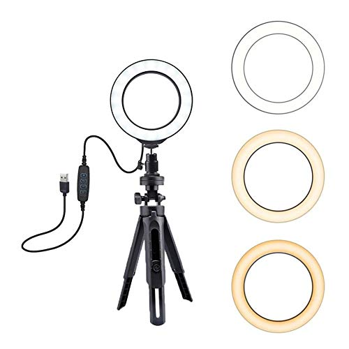 Ringlicht met statief LED cirkellicht dimbaar licht met statief voor make-up Live Steaming Photo Fotografie Selfie 6 inch voor Live Stream make-up video helderheid voor de camera en smartphone