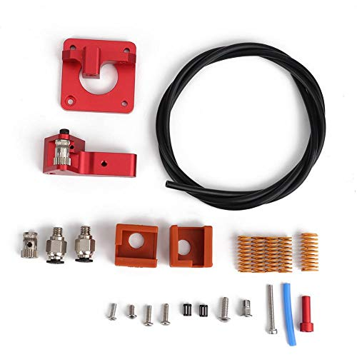 ASHATA 3D Printer Extruder Kit, 3D Printer Accessoires voor Creality CR-10S PRO voor Ender-3 PTFE Spring Extruder Kit,Double Pulley Extruder+1M PTFE Tube+MK9 Silicone Sleeve+Bed Leveling Lente