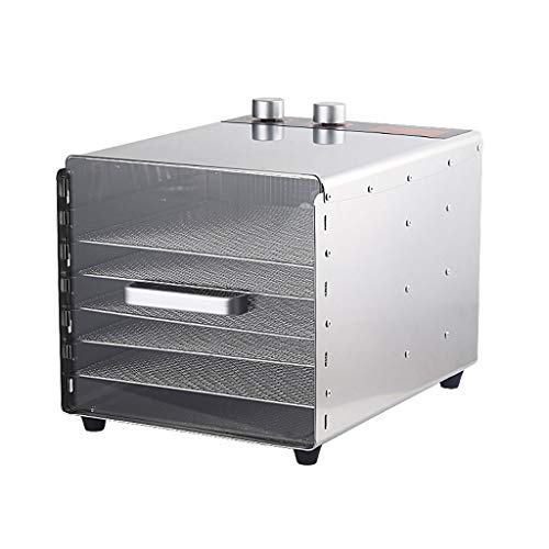 Levensmiddelconserveringsmachine, levensmiddelen-dehydrator, commerciële roestvrij staal, 6-laags rooster, tray fruit, droger met timing temperatuurinstelling aluminium handvat gehard glas deur fruit vaas