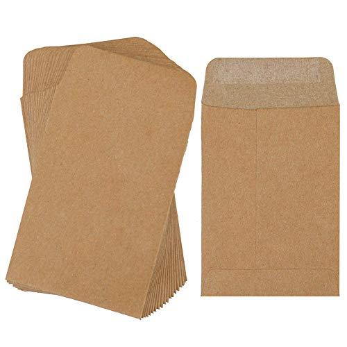 Sobres 100 piezas de monedas de papel Kraft Espesar Semilla Sobres paquetes multifuncional de papel Kraft para Pequeñas piezas Sellos de almacenamiento