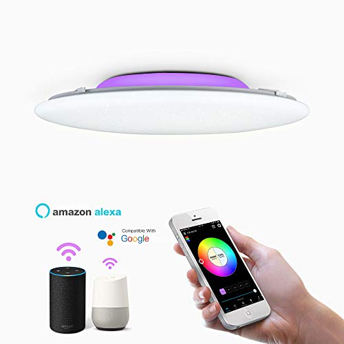OFFDARKS Smart WiFi Plafón Compatible con Amazon Alexa y Google Assistant, Lámpara de techo LED regulable moderna Cambio de color Ambiente Fiesta para sala de estar Dormitorio Luz de noche φ47cm 72w