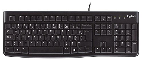 Logitech K120 Teclado con Cable Business para Windows, Tamaño Normal, Resistante a Líquido, Barra Espaciadora Curvada, PC/Portátil, Disposición AZERTY Francés, color Negro