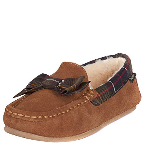 Dames Barbour Sadie Winter Faux Fur Luxe Warme Outdoor Mocassin Slipper - Camel - 6