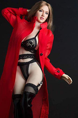 NEDTO 1/6 Scale Female Figure Doll Clothes, Handmade Costume, Dustcoat +Bra + Panty+Stockings Sets Outfit for 12