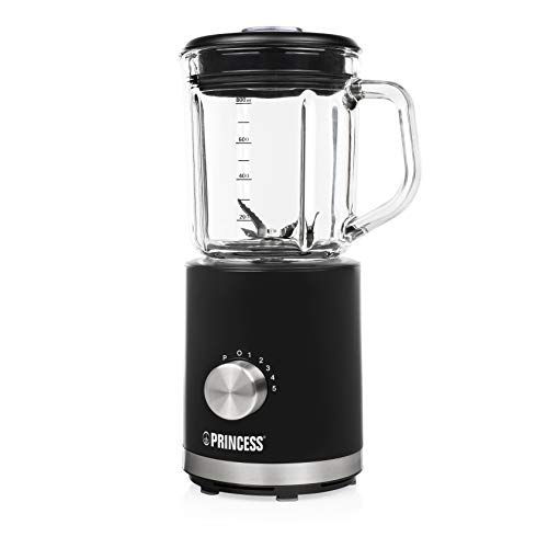Princess 01.212078.01.001 compacte blender/smoothie maker 500 watt, met 800 ml houder, 212078, zwart, glas