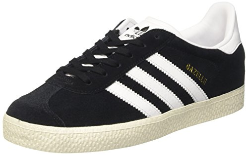 adidas Unisex Kids' Gazelle J Gymnastics Shoes, Black (Core Black/Footwear White/Gold Metallic), 5.5 UK