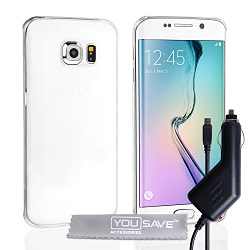 Yousave Accessories Hard Cover Case met autolader voor Samsung Galaxy S6 Edge - Crystal Clear