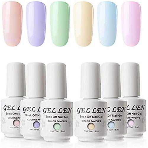 Gellen gel-nagellakset, 8 ml, 6 pastelkleuren, soak-off-gel-nagellak