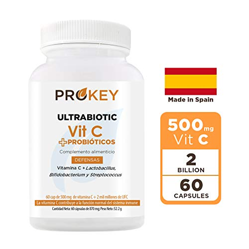 Prokey Vitamin C + Probioticos - Mejor sistema inmune y probióticos para la flora intestinal - Cepas de Lactobacillus, Bifidobacterium y Streptococcus - 500 mg - 2 mil millones CFU