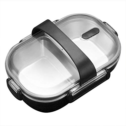 RVS Dichte Bento Lunch Box met 2 compartimenten Voedsel Snack Container Magnetron Home Kitchen supplies (Color : Black)