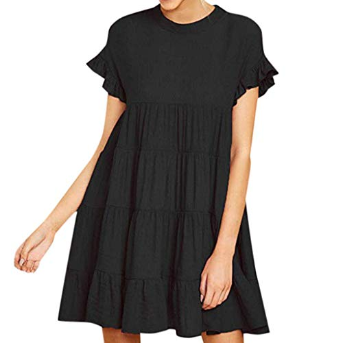 Womens Ruffle Mouw Effen Jurk Casual Plain Korte mouw Jurk Casual Swing Party Jurk