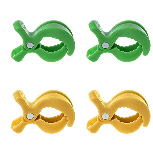 Mydio 4 STKS Anti-Skid Plastic Pram Pegs Clips Kinderwagen Pegs Clips voor Pushchair aan Hook Muslin, Speelgoed, Dekens en Covers, Pram Cart Clips/Handdoek Clip/Deken Clips - Duurzaam en Praktisch Green+Yellow