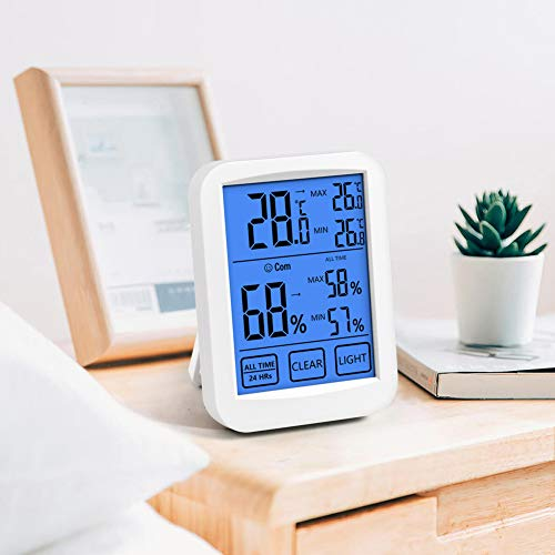 VOLADOR Hygrometer Thermometer met achtergrondverlichting, 24H/All Time Min/Max Records, LCD Touch Screen Digitale Indoor Hygrometer Thermometer Monitor, Temperatuur en Vochtigheid Meter voor Babykamer, Kantoor, enz