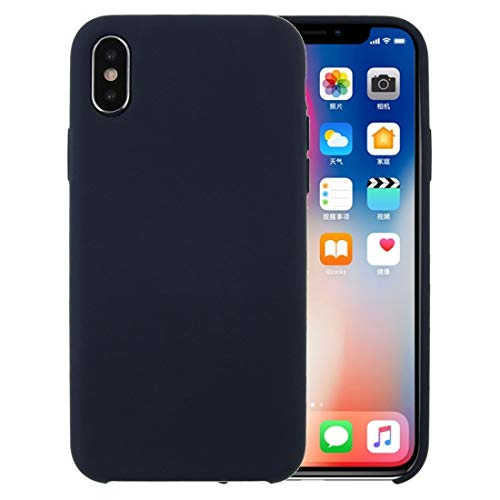 Shockproof LIJM For De IPhone X/XS Pure Color Liquid Silicone + PC Dropproof Protective Back Cover Case (Zwart) Decoratie (Color : Dark Blue)