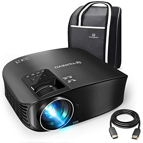 Vankyo Leisure 510 Beamer 4000 Lumen Full HD home theater projector met 200 inch projectiegrootte 5000 uur video projector, ondersteunt tv-stick, smartphone, laptop, pad, met HDMI-kabel zwart