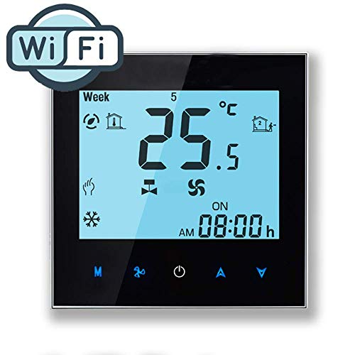 Arxus WiFi thermostaat, wifi-besturing, LCD-touchscreen, programmeerbare kamerthermostaat voor centrale airconditioning/verwarming 4 Rohr für Conditioner zwart
