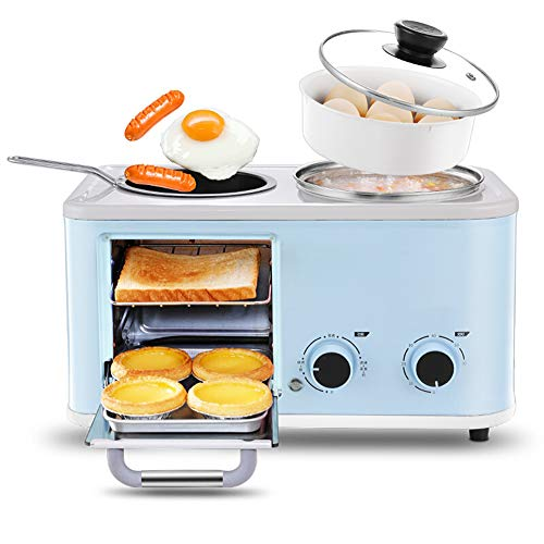Brood Machine, Ontbijt Broodrooster Machine Multifunctionele 3-in-1 Broodrooster/tosti-apparaat/home-gekookt ei Omelette-blue