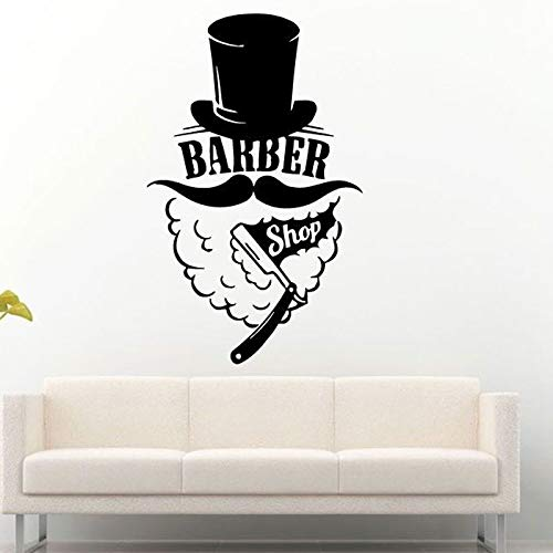 Sanzangtang Barbershop Logo Muursticker venster haarknit vinyl muur applicatie hoed man snor scheermes patroon decoratie