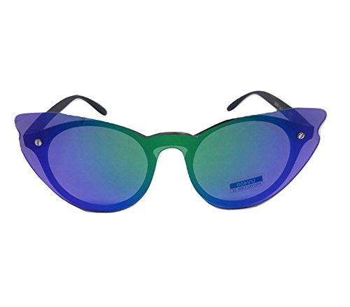 LS EYEWEAR occhiali da sole donna tutta lente tuttolente blaze specchio cat eye occhi di gatto specchiati sunglasses blu 2019