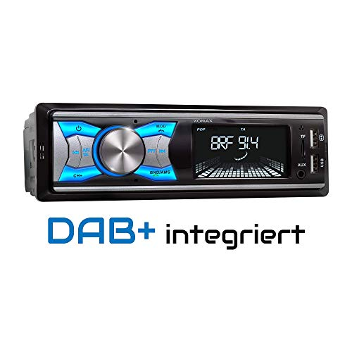 XOMAX XM-RD264 autoradio met DAB+ tuner en antenne, RDS, Bluetooth handsfree, USB, SD, MP3, Aux-IN, 1 Din