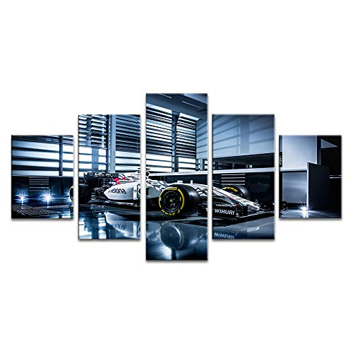 Canvas Print Wall Art Formule Een Team Williams Martini Racing Poster voor Home Office Decoratie 5 Panel met Ingelijste Klaar om op te hangen