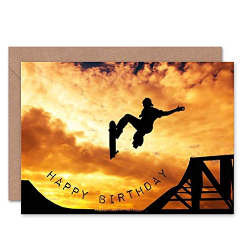 Wee Blue Coo HAPPY BIRTHDAY SKATEBOARD RAMP SUNSET FOTO BLANK GREETINGS KAART