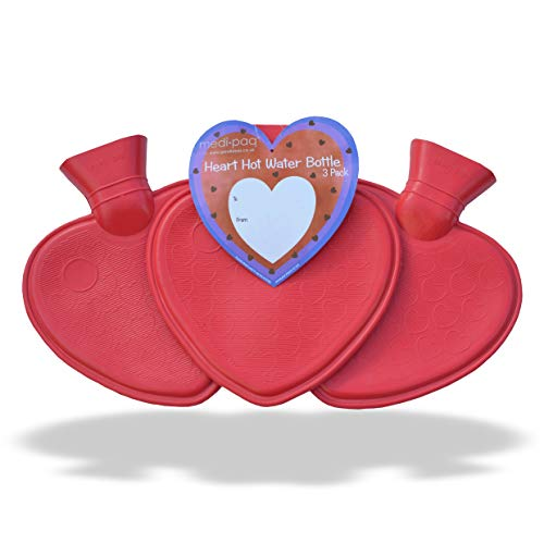 Medipaq® Heart Shaped Hot Water Bottles - Amazing Value 3 Pack