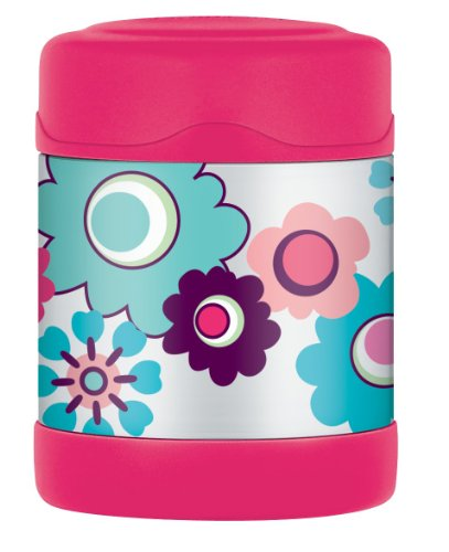 Thermos thermoscontainer voor levensmiddelen 290 ml bloemenpatroon roze