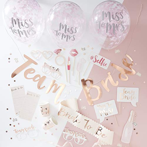Ginger Ray Hen Party Bruids Douche Rose Goud Roze Feest in een Doos Decoratie Kit - Team Bruid