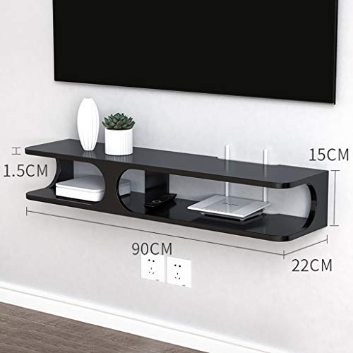 Drijvende Shelf 35,4 inch Solid Color Simple TV Cabinet 90cm Opknoping Router Planken Entertainment Console Gaming Stellingen Unit Electronics Rack (Color : White)
