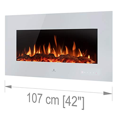Noble Flame Vegas 1070 - Chimenea eléctrica de pared, color blanco
