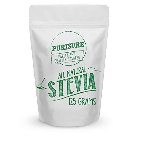 Purisure Tous Stevia poudre naturelle 125 grammes extrait pur très concentré Pas de produits additifs
