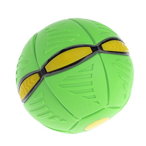 JAGENIE Flying UFO Flat Throw Disc Ball with LED Light Toy Kid Outdoor Garden Beach Game Green