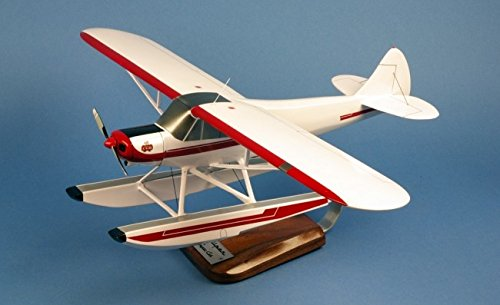 Aero-Passion Piper PA-18 Super Cub Floatplane - groot mahonie model - vliegtuigen collectie