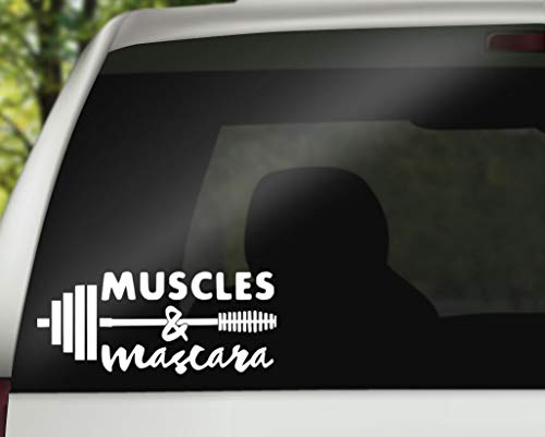 DKISEE Spieren en Mascara Vinyl Decal, Fitness Auto Vinyl Decal, Uitwerken Vinyl Decal, Women's Fitness Gift, Waterfles Vinyl Decal Window Muursticker Auto Decal 8 inch Onecolor