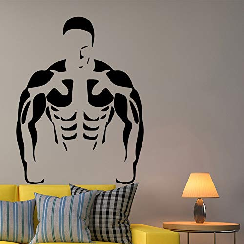 fancjj DIY Muscle Men Autoadhesivo Vinilo Impermeable Wall Art Decal para la Sala de Estar Dormitorio Wall Art Sticker Murales 58X76CM
