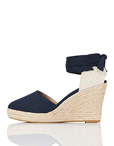 Marca Amazon - find. Mid-wedge Close Toe Canvas Espadrille - Sandalias con cuña tipo alpargatas Mujer