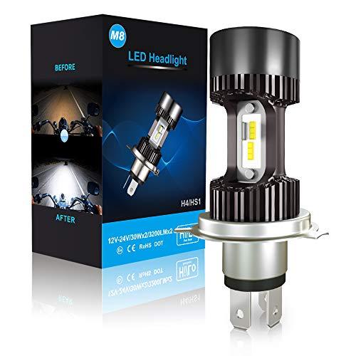 CAR ROVER LEDMT HS1-Lampadina LED per Faro Moto, 6400lm, 12 V, allo Xeno Bianco 6000 K, Confezione da 1, Grigio Scuro, H4 for Motorbike