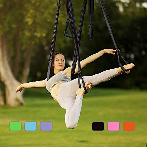 MQSS Aerial Yoga Hammock Silk, Trapeze for Yoga - Herramienta de Yoga Swing/Sling/Inversion, Yoga Trapeze for Air Yoga Ejercicios de inversión Antigravedad Ultra Fuerte Blue