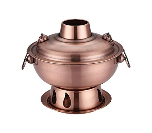1,8 liter hoogwaardig roestvrij staal Hot Pot, Chinese fondue Lamb Chinese Charcoal Hotpot in de open lucht fornuis picknick fornuis Red Copper.