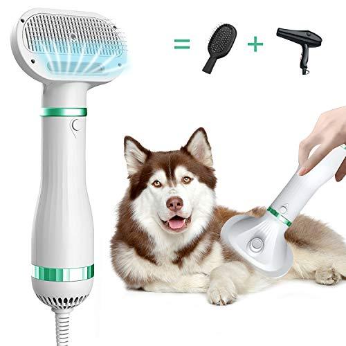 【最新版】 ペットドライヤー ペットブラシ 猫犬用グルーミング ペットヘア乾燥機 犬の毛送風機 4in1多機能 片手操作 風量温度調節可能 静音安全 日本語説明書付き