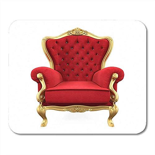 Muiskussentjes Rood Koning Troon Stoel Rendering Royal Queen Golden Armchair Seat Mouse pad 25X30cm