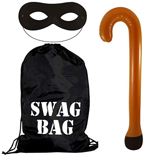 WickedFun® World Book Week Gangster Swag Bag Masker & Opblaasbare wandelstok Set
