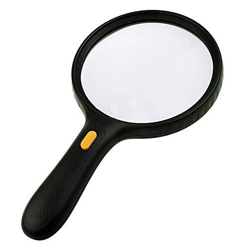 Pixier 1,8 x / 2 x / 2,5 x / 3 x / 5 x vergrootglas, glas met LED-lamp, handgemaakt, voor het lezen, verkennen, inspectie, dagboek, insecten en borduren, 75 mm