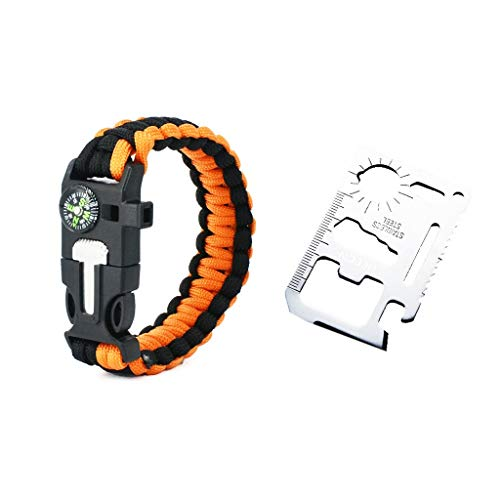 HEECN Multi-Purpose Pocket Survival Tool Card en Survival Armband Set ORANJE