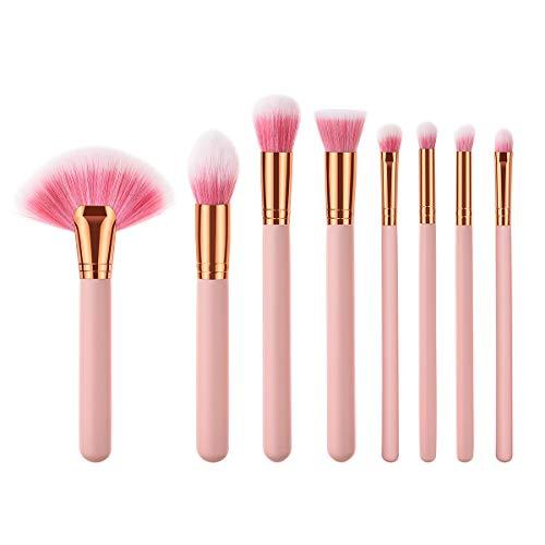 Lurrose 8 stuks roze premium nylon haar make-up kwast kit houten handvat poederkwast voor Full Face Make-up